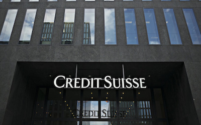 The logo of Credit Suisse in Zurich, Switzerland, on Thursday, July 07, 2017.   Photographer:   Michele Limina/Bloomberg