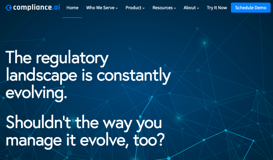 New Compliance.ai Homepage