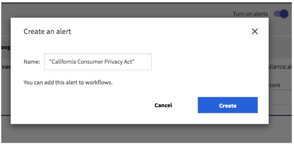 Compliance.ai Create an Alert