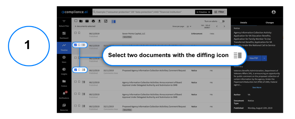 Select two documents with the diffing icon