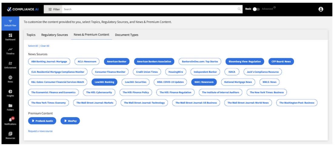 News and Premium Content Default Filter